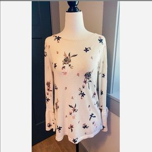 Loft Outlet white floral long sleeve top size sm